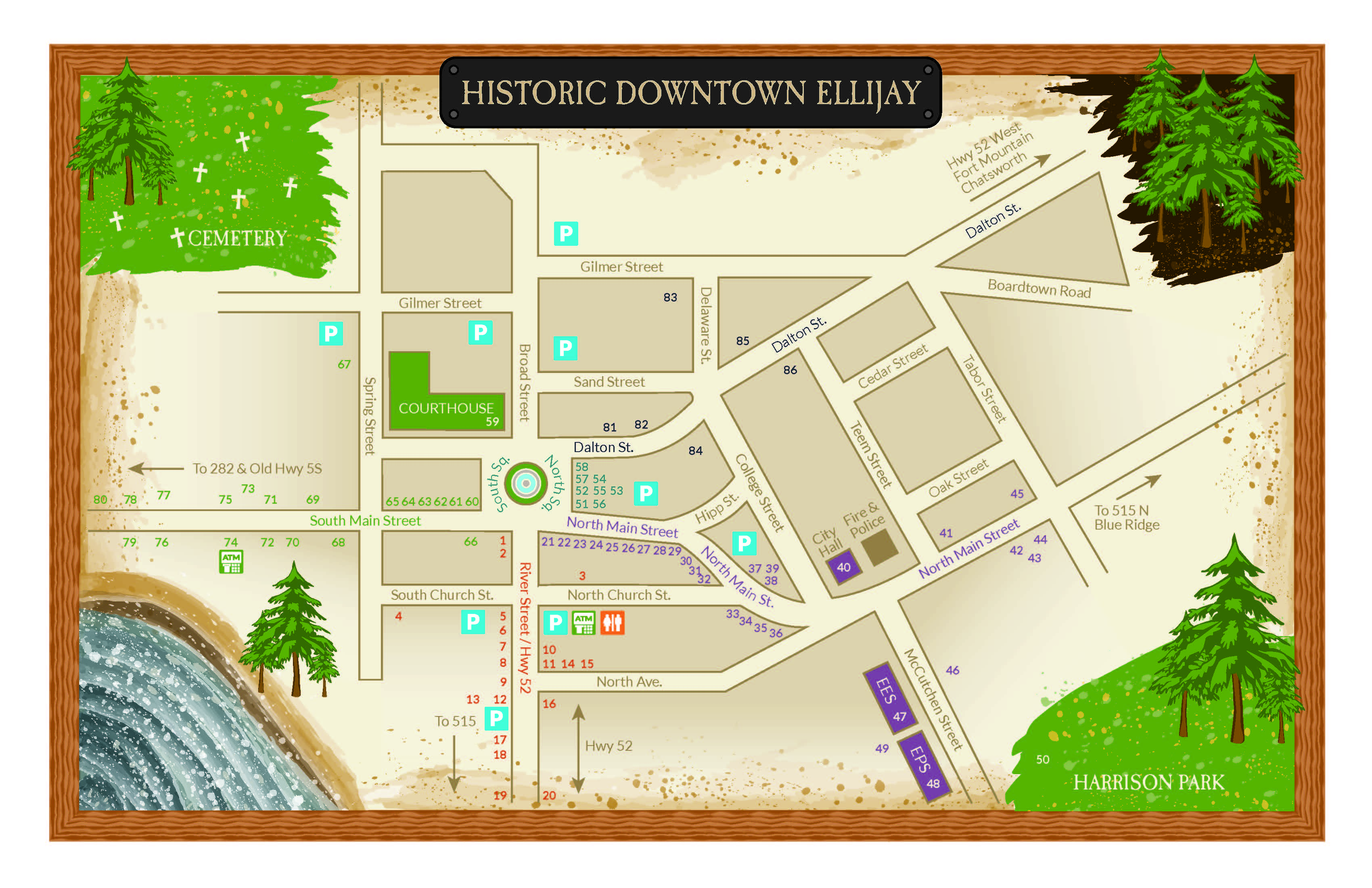 Downtown Ellijay Map Gilmer County Chamber Of Commerce